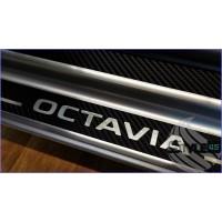 Наклейки на пороги Skoda Octavia A5
