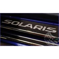 Наклейки на пороги Hyundai Solaris 2