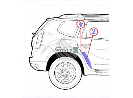 Наклейки антигравийные на заднюю дверь и арку для Renault Duster (комплект для пластиковых накладок)