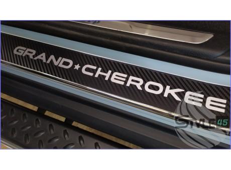 Наклейки на пороги Jeep Grand Cherokee