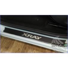 Наклейки на пороги для LADA Xray