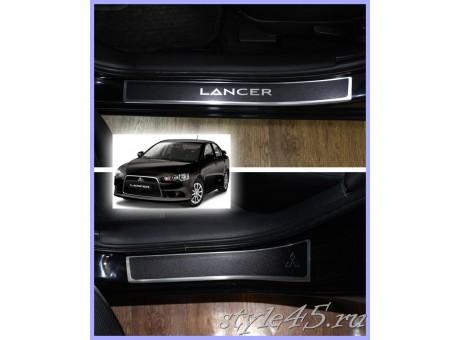 Наклейки на пороги для Mitsubishi Lancer 10