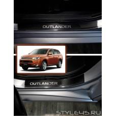 Наклейки на пороги для Mitsubishi Outlander 3