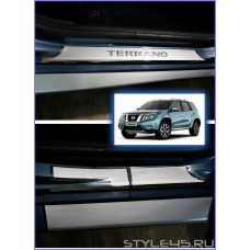 Наклейки на пороги для Nissan Terrano 3