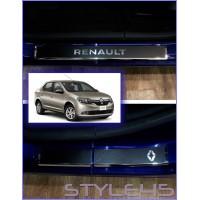 Наклейки на пороги для Renault Logan 2