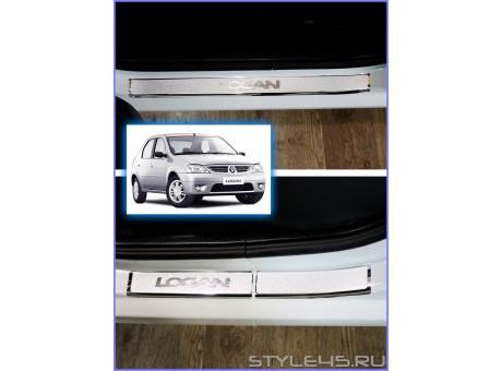 Наклейки на пороги для Renault Logan 1