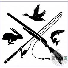 Наклейка охотник и рыболов