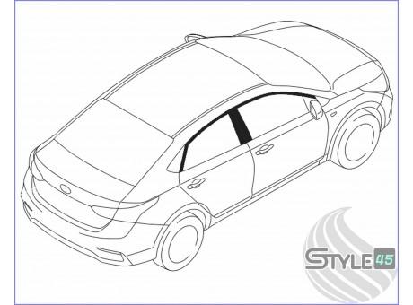 Наклейки на стойки дверей Hyundai Solaris 2 поколение